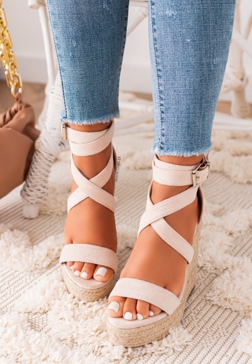 Sandałki na Koturnie Beżowe Agostina