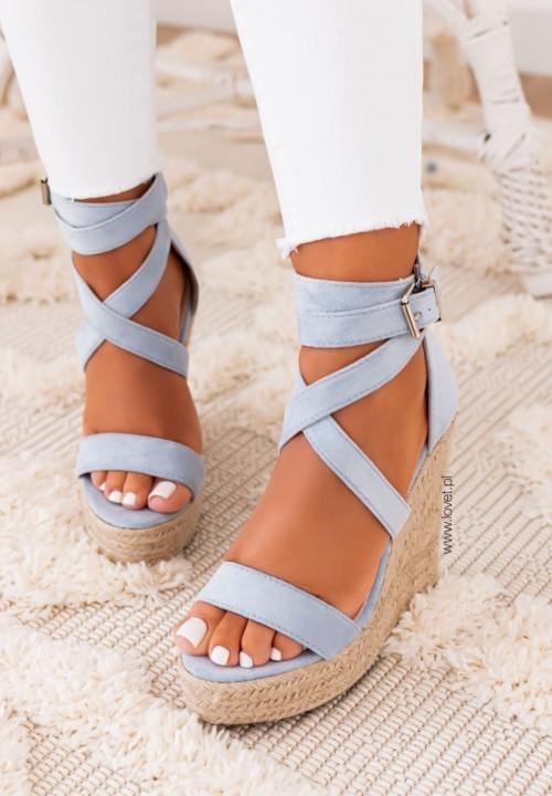 Sandałki na Koturnie Niebieskie Agostina