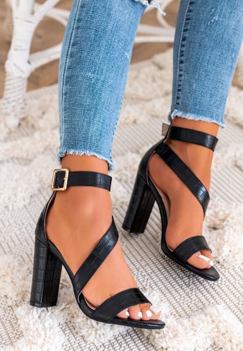 Sandałki Na Słupku Croco Czarne Athalia