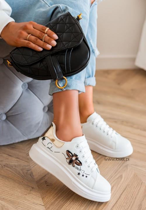 Trampki Sneakersy ze Złotą Wstawką Białe Bonnes