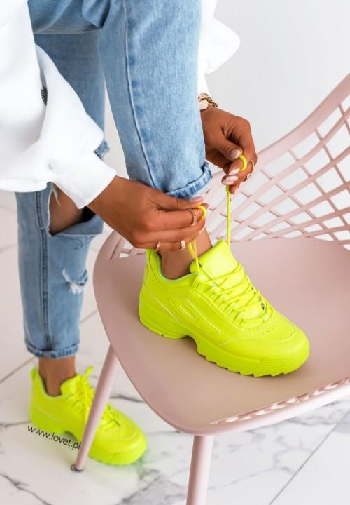 Trampki Sportowe Sneakersy Neonowy Żółty Libby