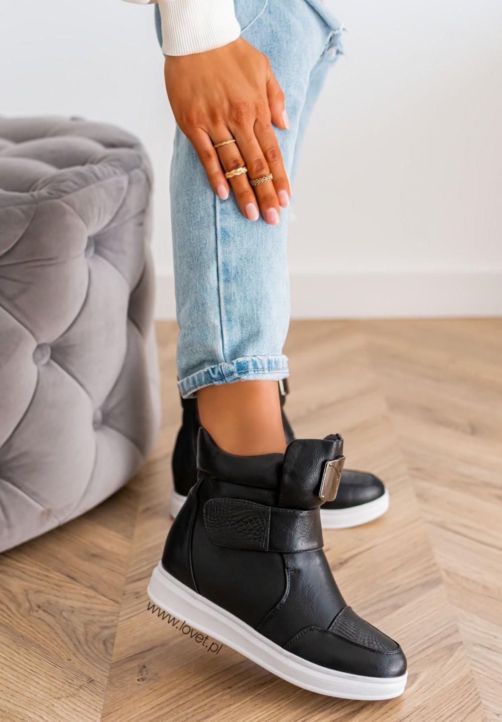 Sneakersy Wysokie Na Koturnie Croco Czarne Madnes