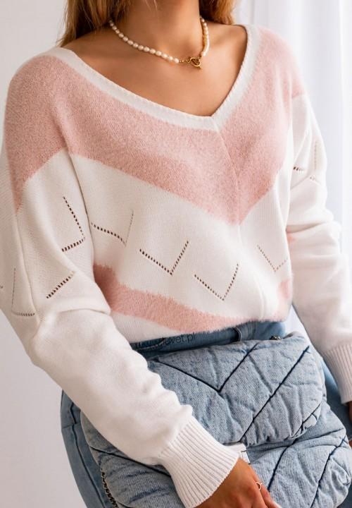 Sweterek Biało Różowy Verte