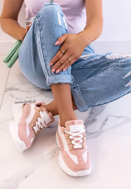Trampki Sneakersy Zamszowe Różowe Kallos