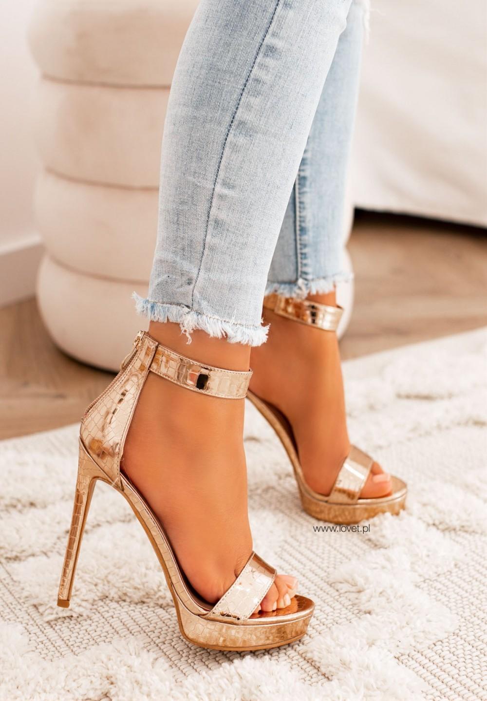 Sandały Szpilki na Platformie Różowe Złoto Kama
