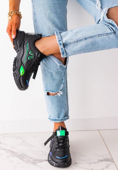 Sneakersy z Holograficznymi Wstawkami Czarne Neon
