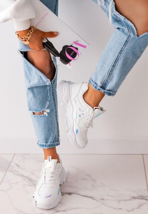 Sneakersy z Holograficznymi Wstawkami Białe Neon
