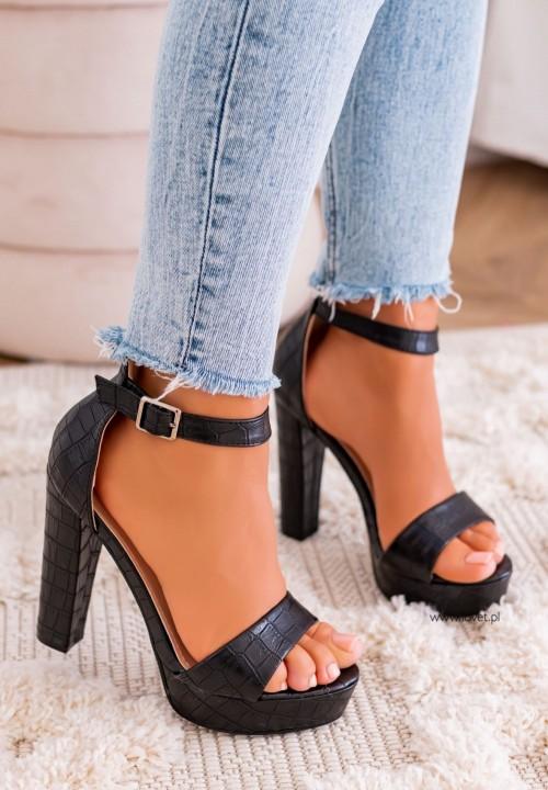 Sandały na Słupku Croco Czarne Heidi