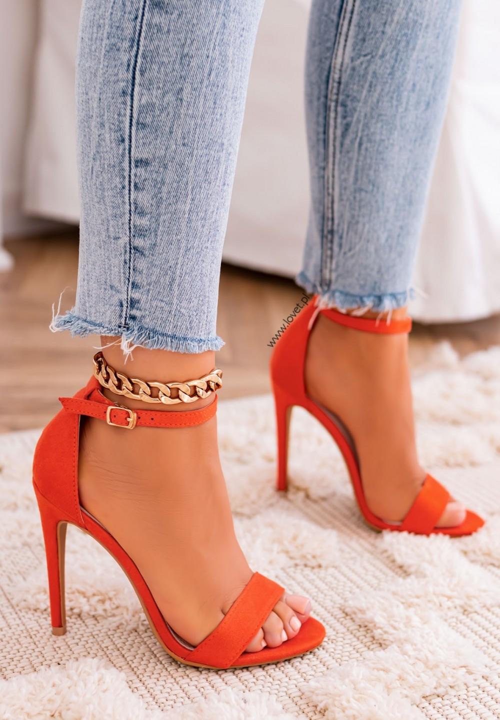 Sandałki Szpilki Zamszowe Pomarańczowe Keira