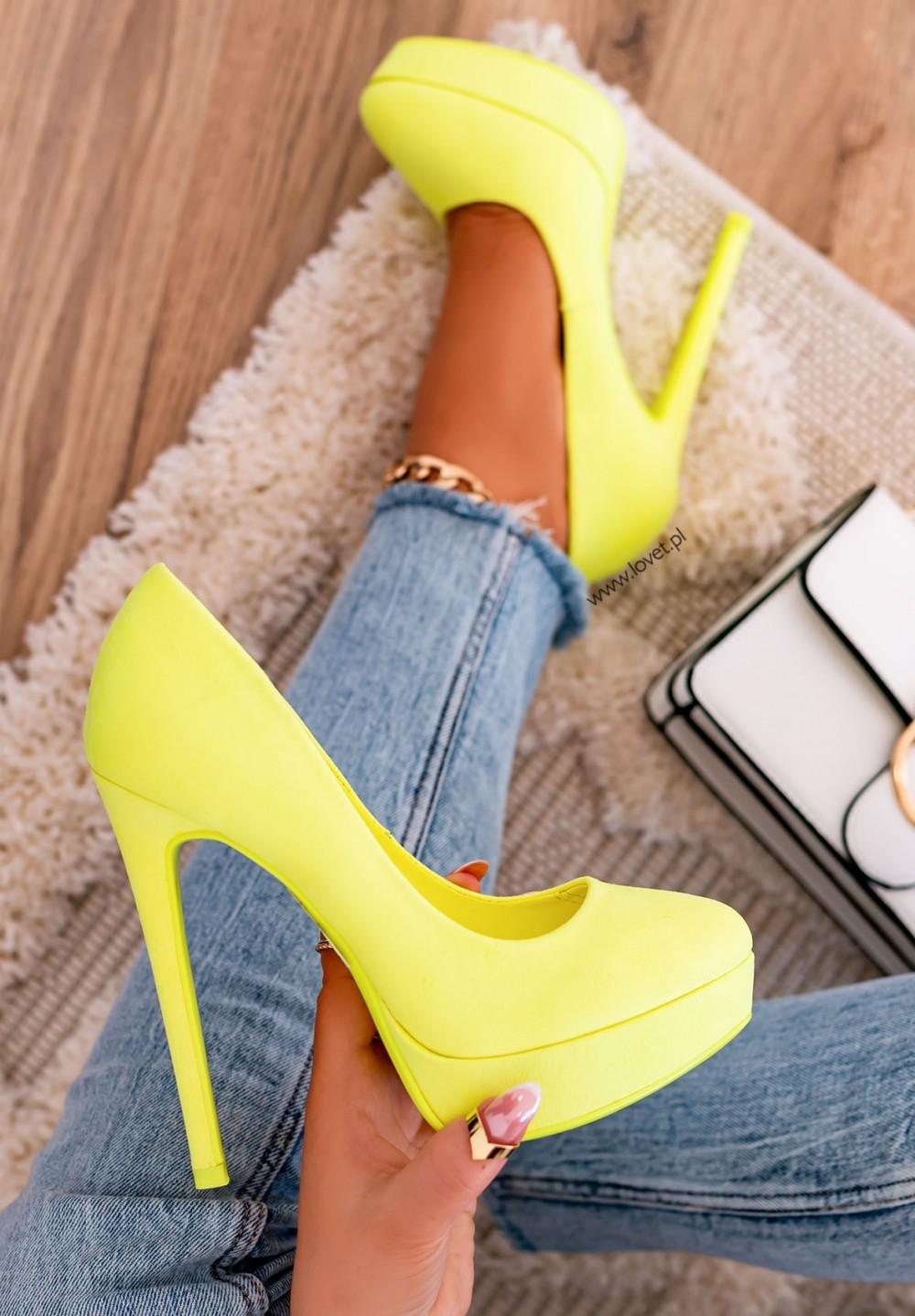Szpilki Platformy Zamszowe Neon Yellow Molly New