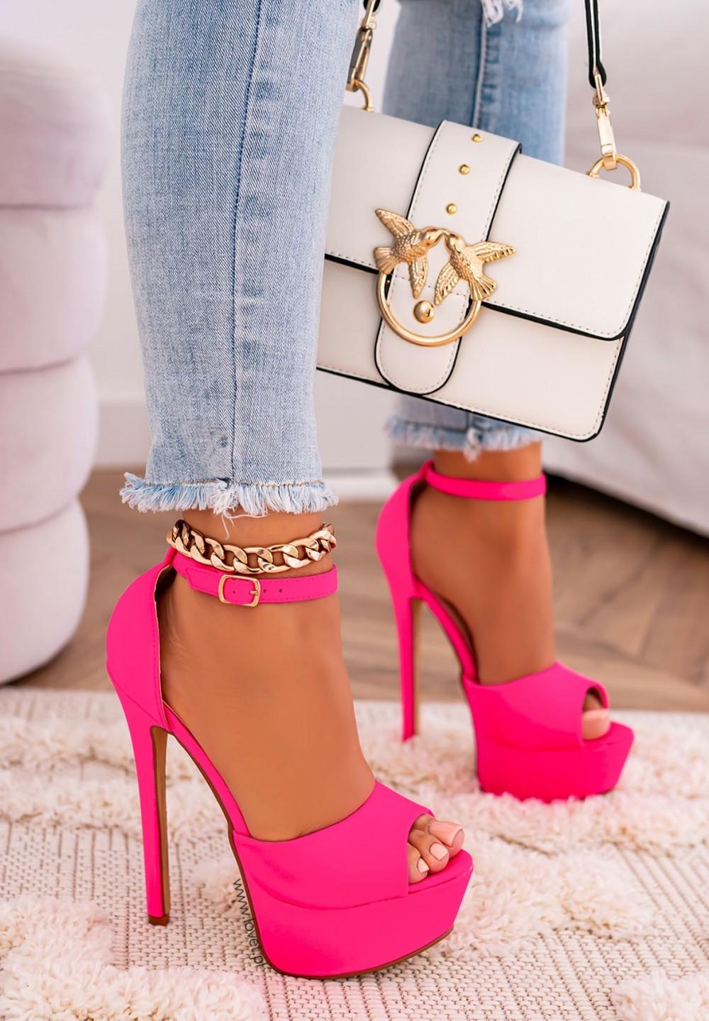 Sandałki Szpilki na Platformie Neonowe Różowe Alexa