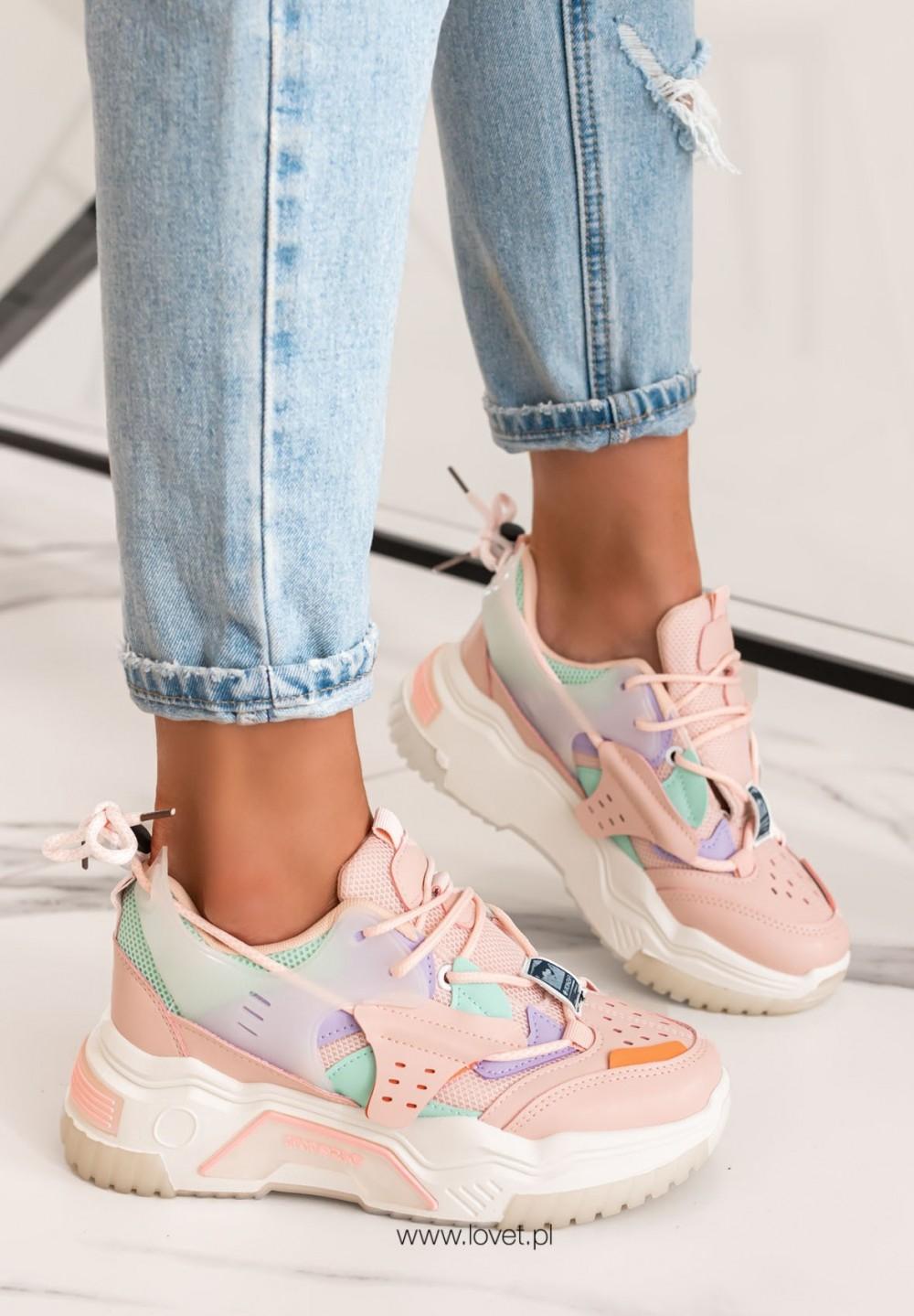 Trampki Sneakersy Siateczkowe Różowe Feris