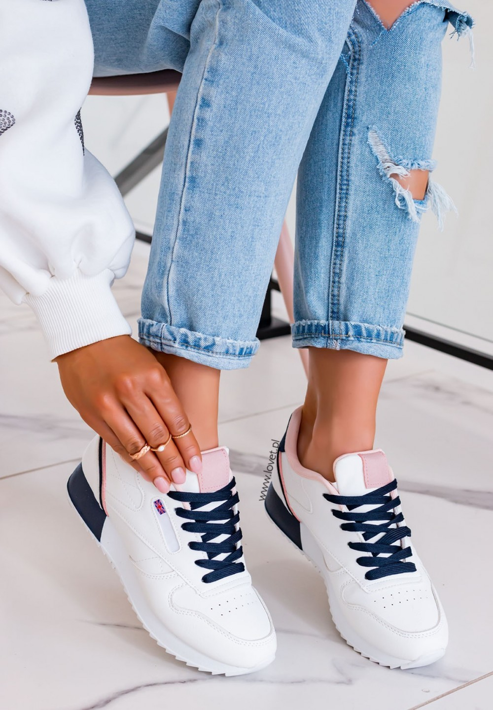 Trampki Sneakersy Biało-Granatowe Nelli