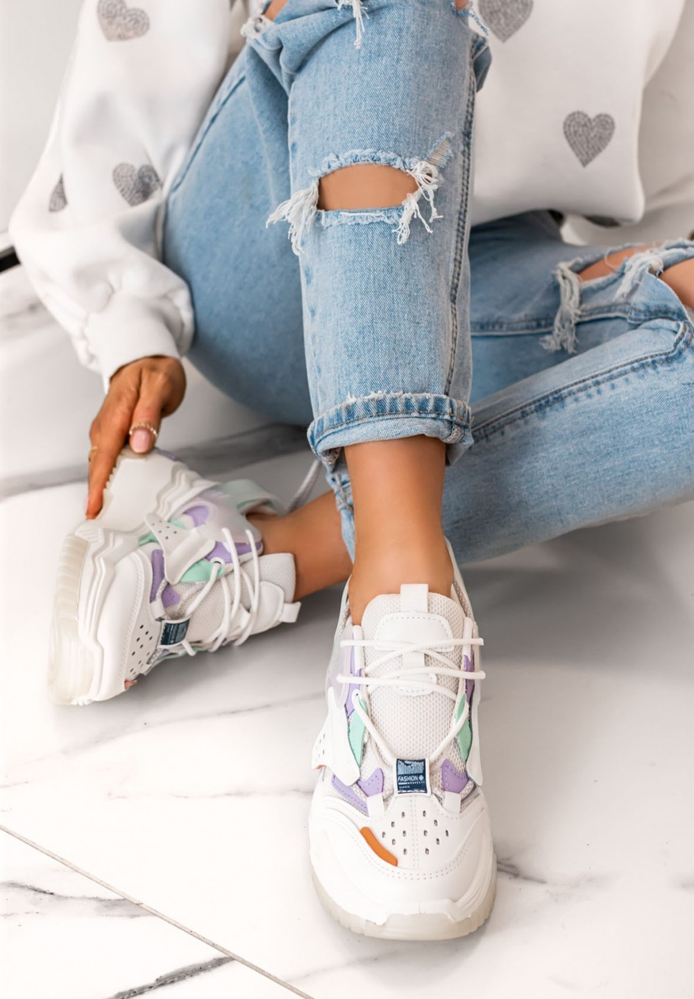 Trampki Sneakersy Siateczkowe Białe Feris