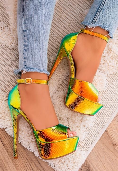 Sandałki Szpilki na Platformie Opalizujące Złote Alexa