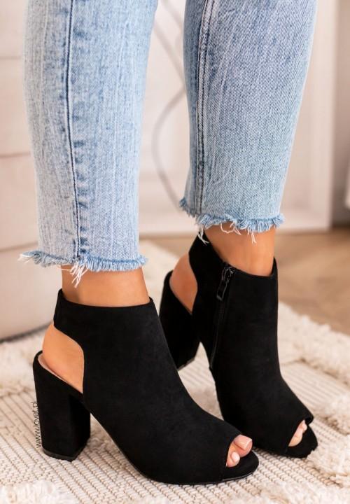 Sandały Na Słupku Czarne Lisa