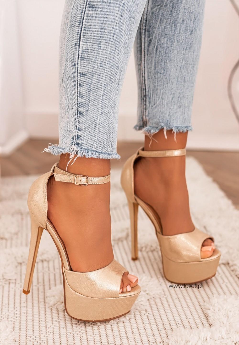 Sandałki Szpilki na Platformie Złote Alexa