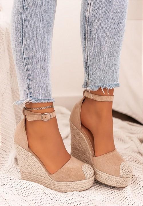 Sandały Espadryle Koturny Zamszowe Beżowe Hayleys