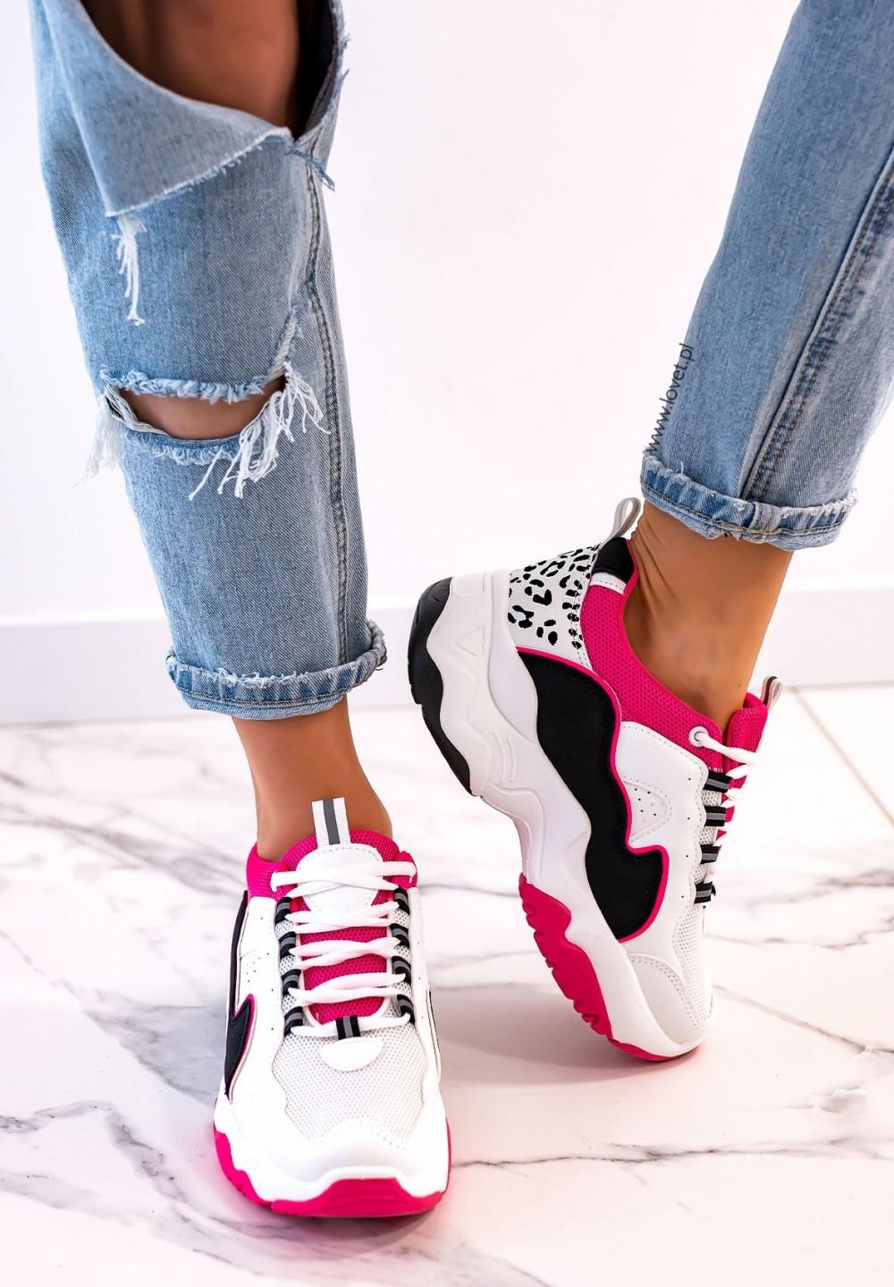 Sneakersy Sznurowane Fuksjowe Fluo Carol
