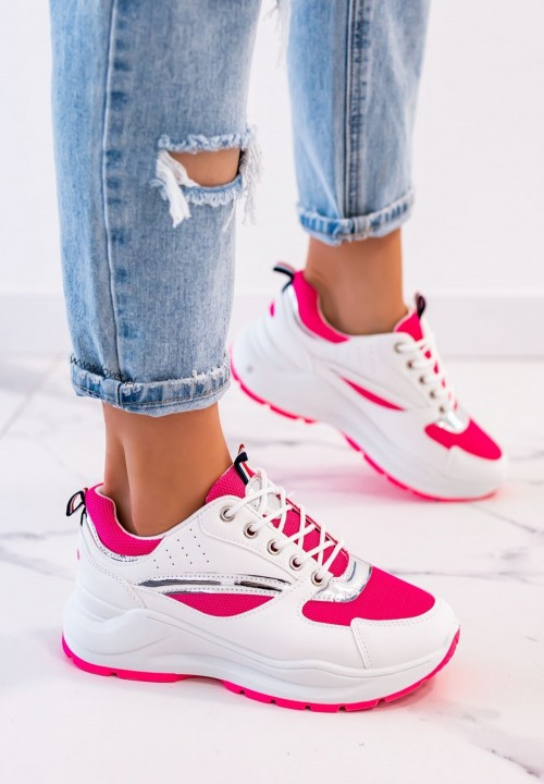 Sneakersy Sznurowane Fuksjowe Neon Rita