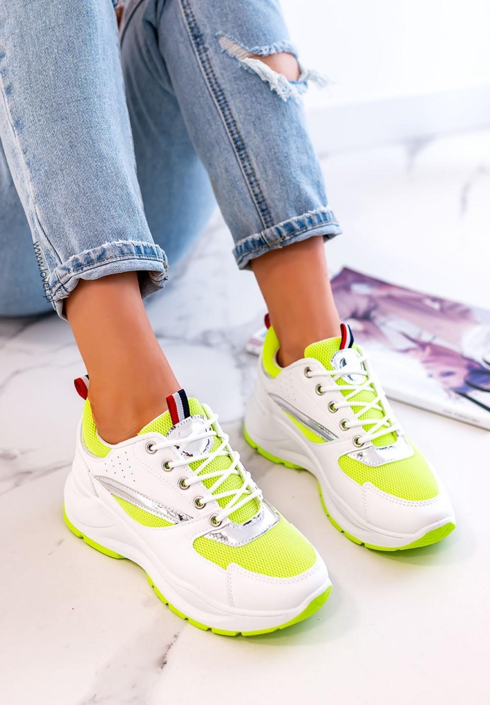 Sneakersy Sznurowane Zielone Neon Rita