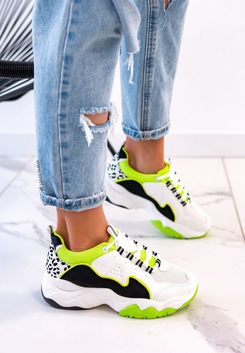 Sneakersy Sznurowane Zielone Fluo Carol