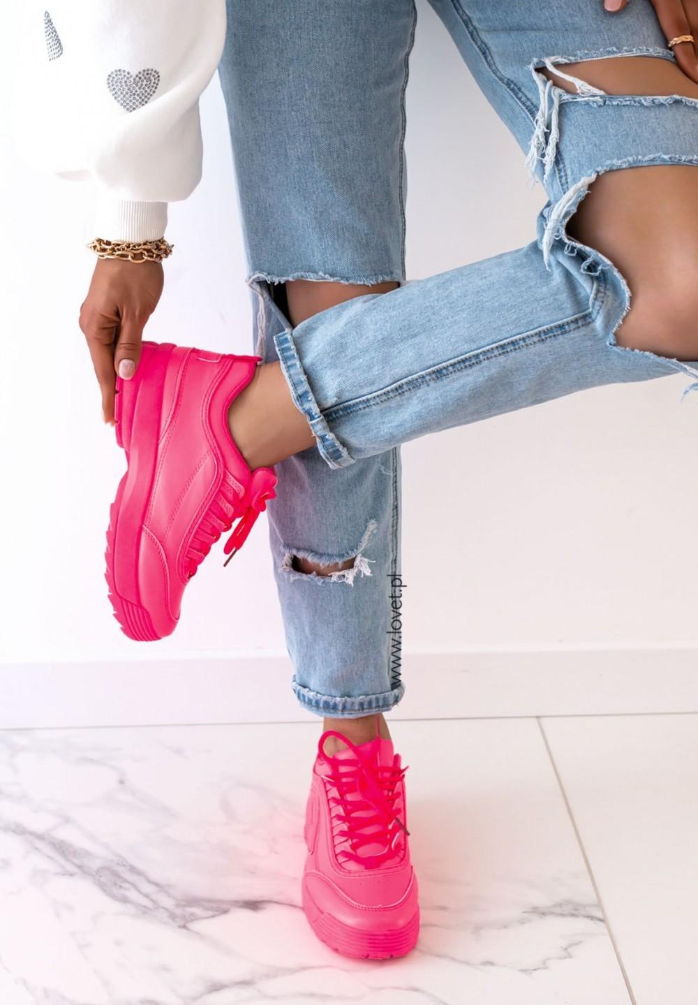 Trampki Sportowe Sneakersy Neonowy Różowy Libby