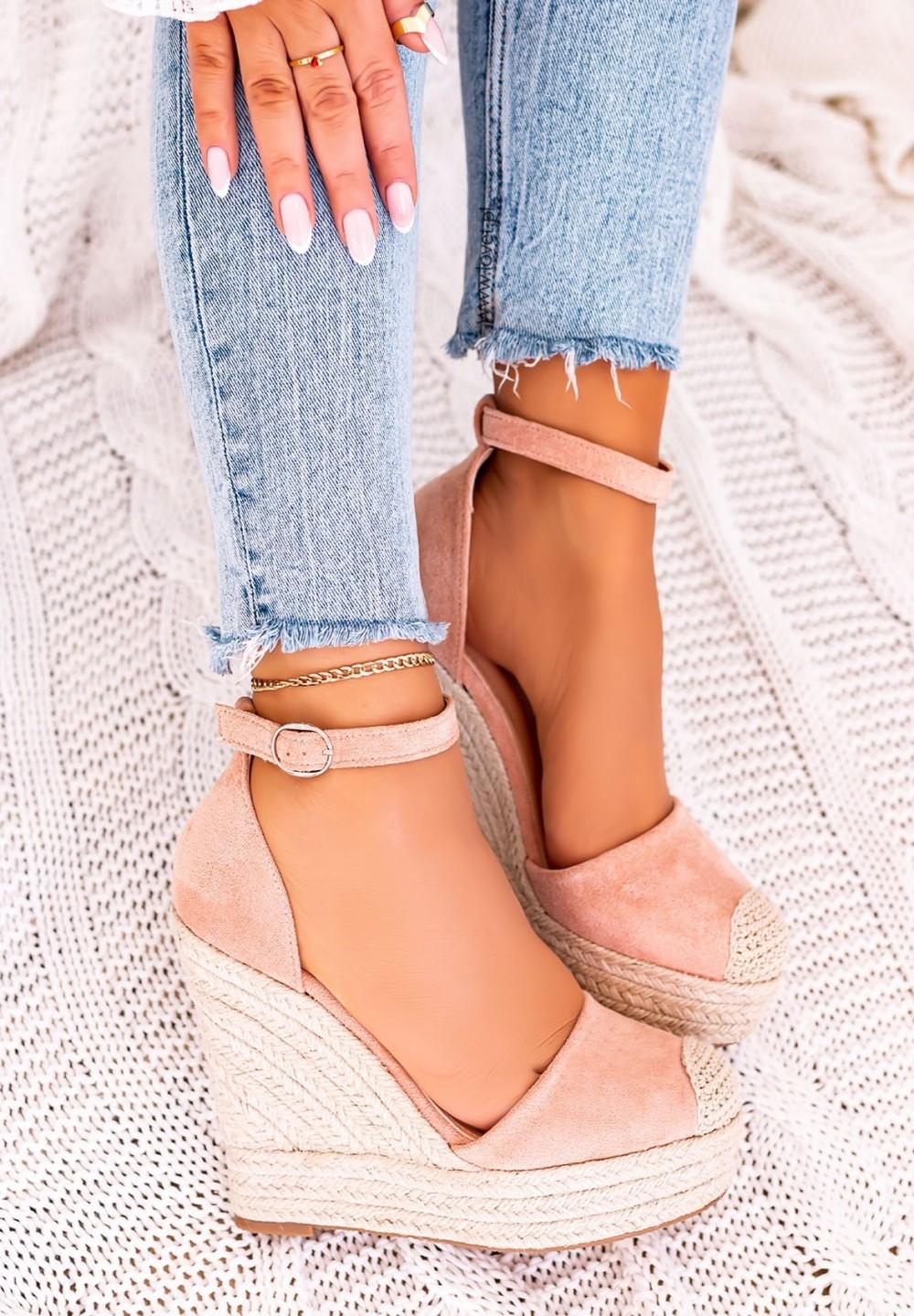 Sandały Espadryle na Koturnie Zamsz Różowe Essti