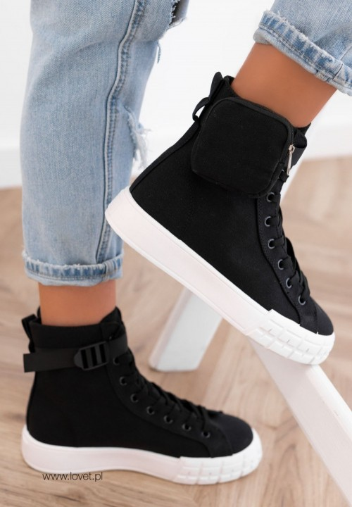 Trampki Sneakersy z Kieszonką Czarne Farnes