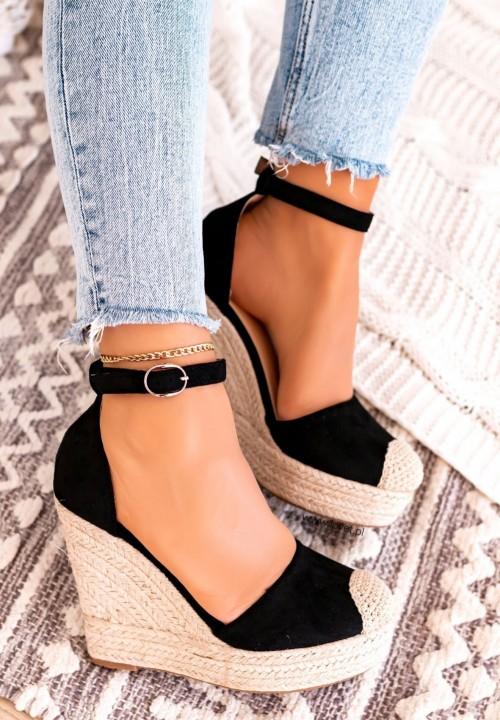 Sandały Espadryle na Koturnie Zamsz Czarne Essti