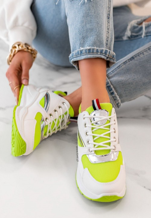 Trampki Sneakersy Sznurowane Zielone Neon Rita