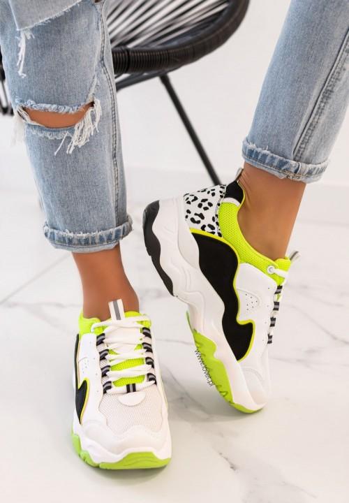 Trampki Sneakersy Sznurowane Zielone Fluo Carol