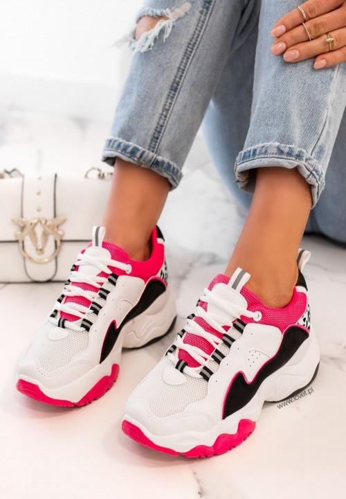 Trampki Sneakersy Sznurowane Fuksjowe Fluo Carol