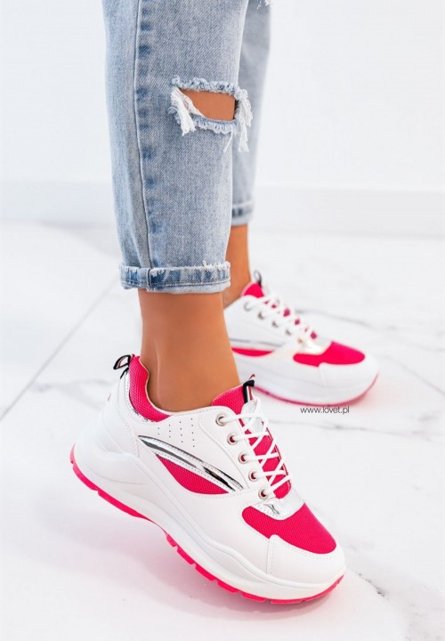 Trampki Sneakersy Sznurowane Fuksjowe Neon Rita