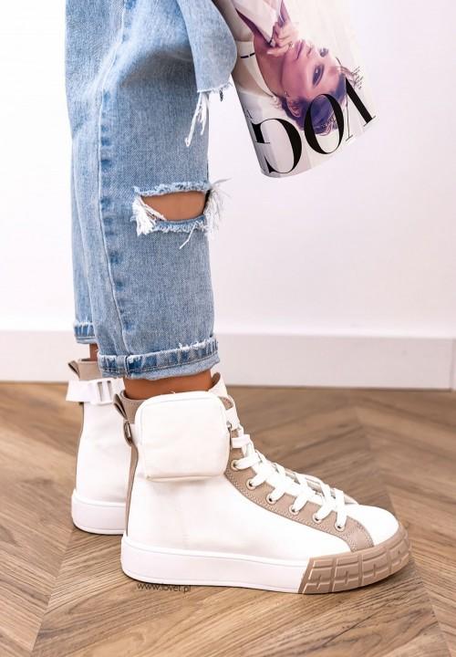 Trampki Sneakersy z Kieszonką Beżowo-Białe Farnes