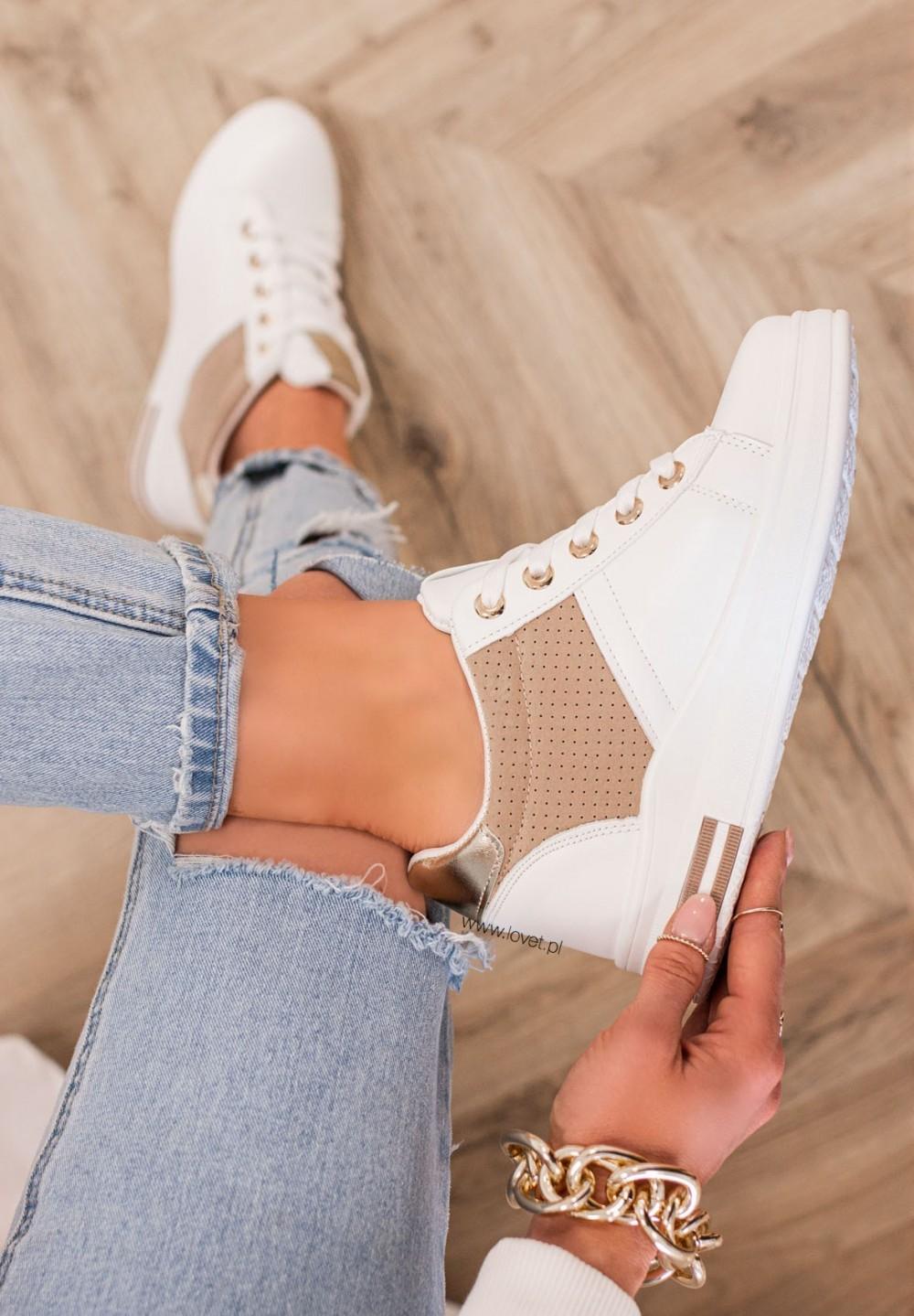 Trampki Sneakersy Biało Beżowe Renis