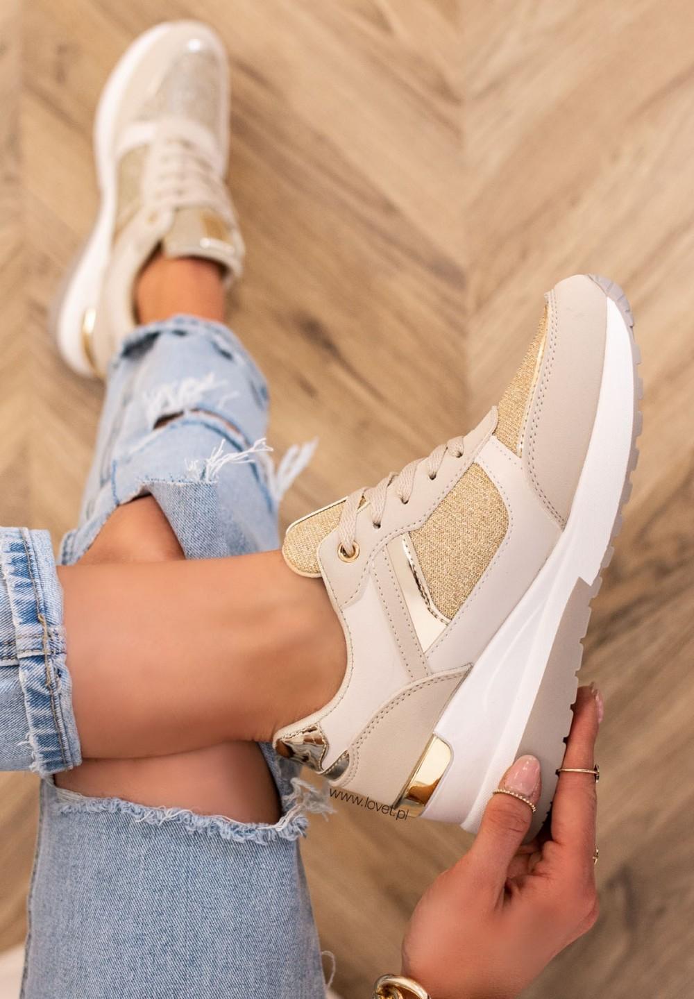 Trampki Sneakersy Brokatowe Beżowe Bohos