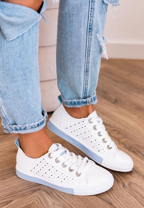 Trampki Sneakersy Sznurowane Jasno Niebieskie Ross