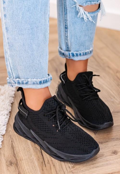 Trampki Sneakersy Siateczkowe Czarne Hana