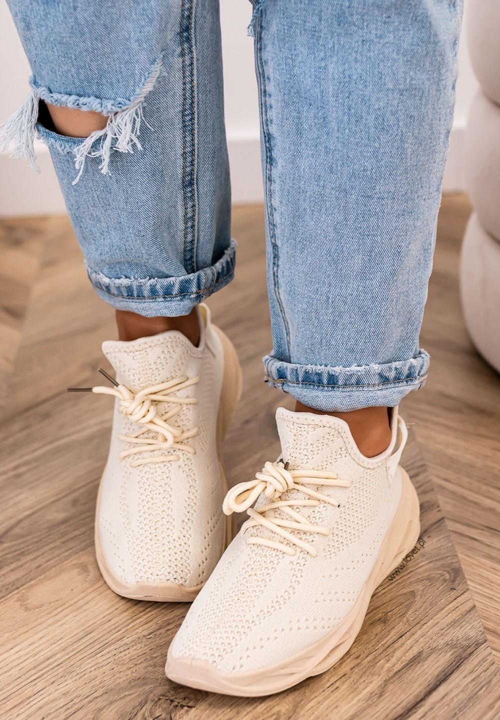 Trampki Sneakersy Siateczkowe Beżowe Felise