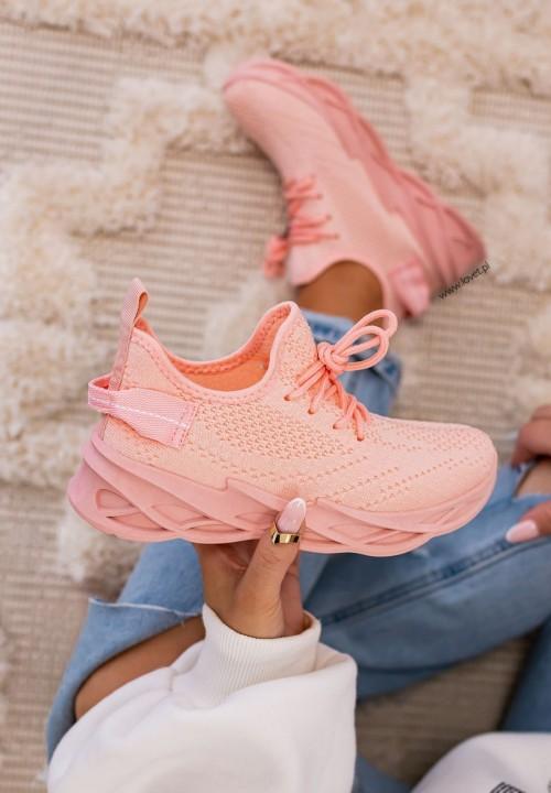 Trampki Sneakersy Siateczkowe Różowe Hana