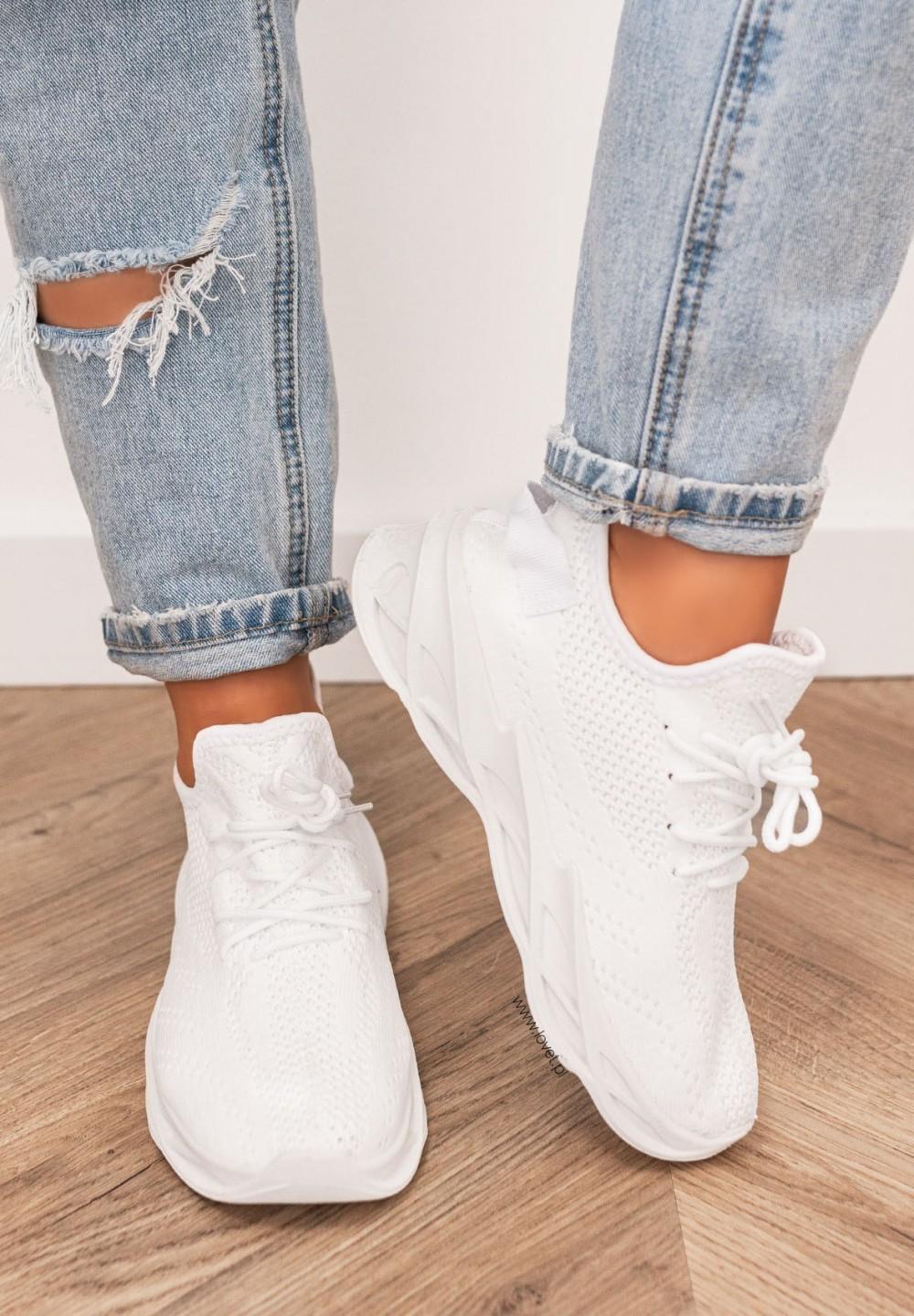 Trampki Sneakersy Siateczkowe Białe Felise