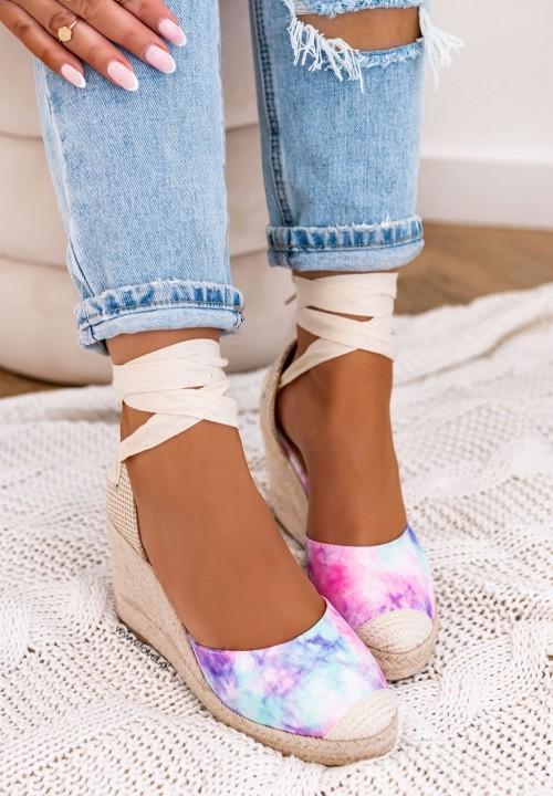 Sandały Espadryle Koturny Fioletowe Maddie
