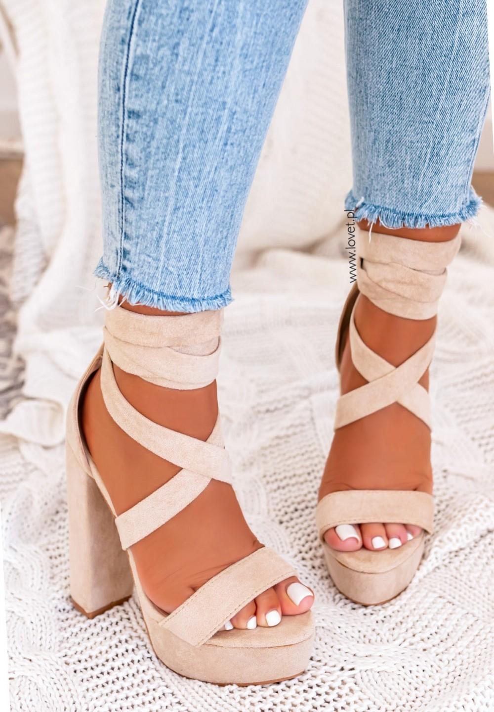 Sandałki Platformy Beżowe Justine