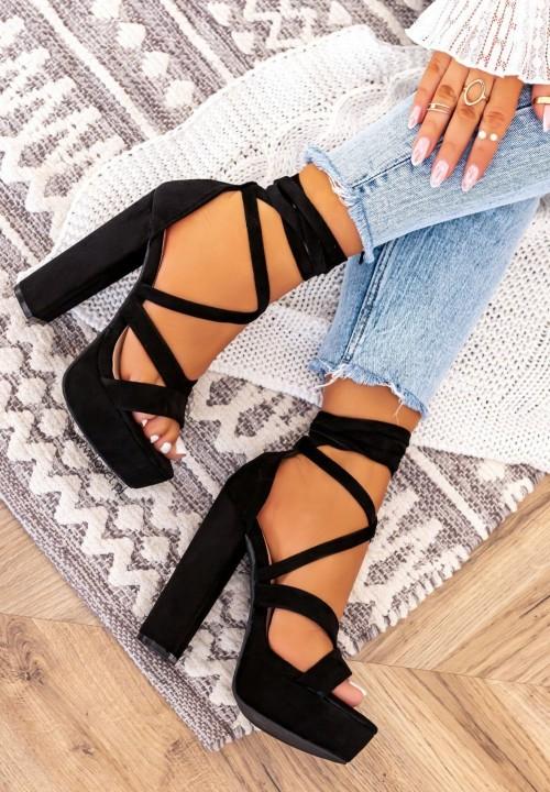 Sandałki Na Słupku Platformy Czarne Justines