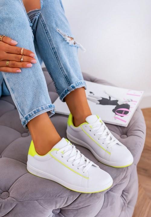Trampki Sneakersy Sznurowane Żółto Białe Fluo Valery