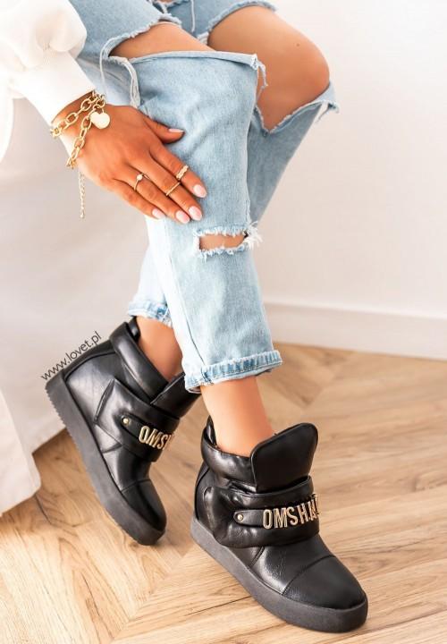 Trampki Sneakersy na Koturnie z Literkami Czarne Geris
