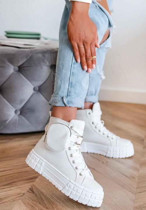 Trampki Sneakersy Na Grubej Podeszwie Białe Otilla