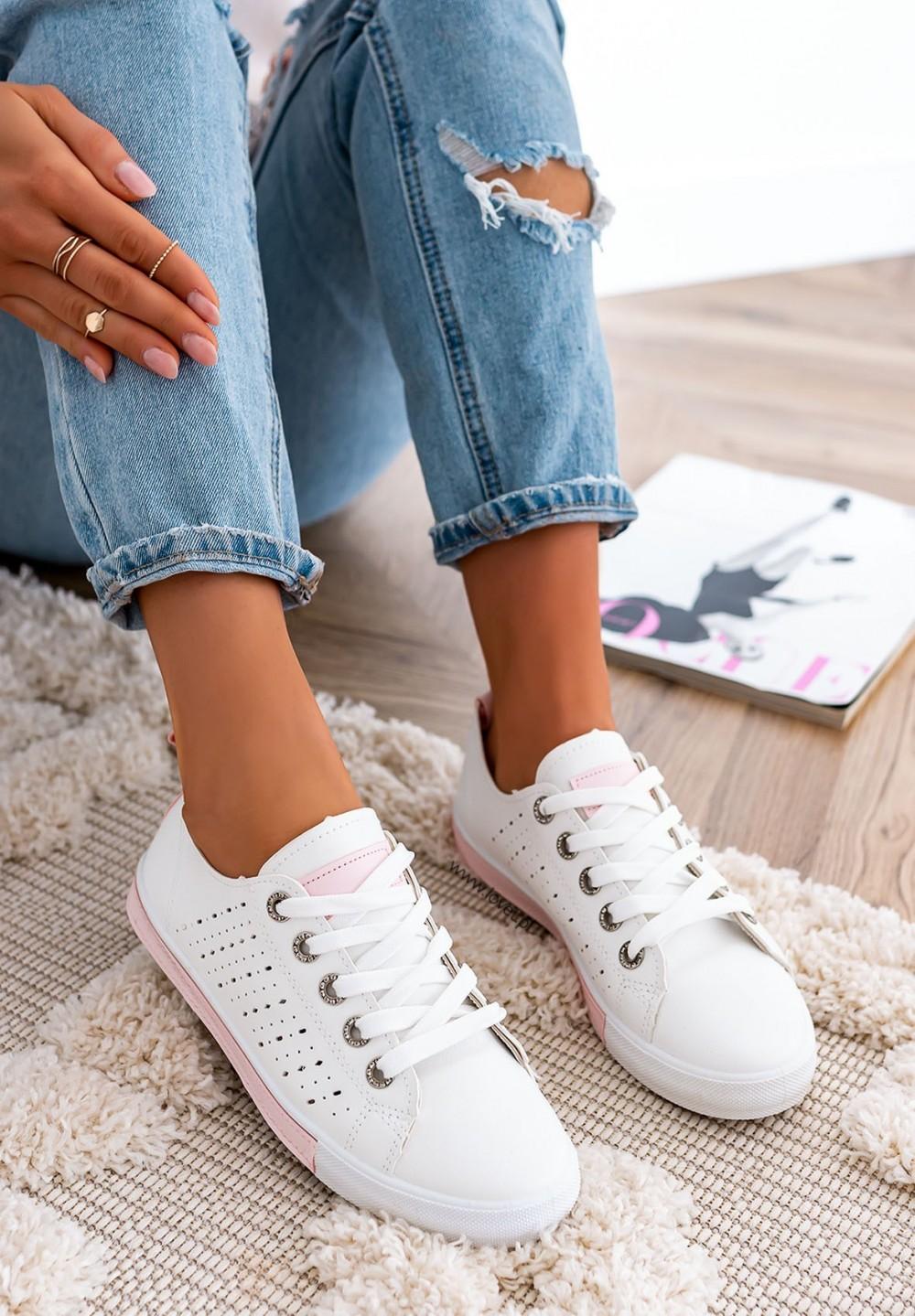 Trampki Sneakersy Sznurowane Różowe Ross