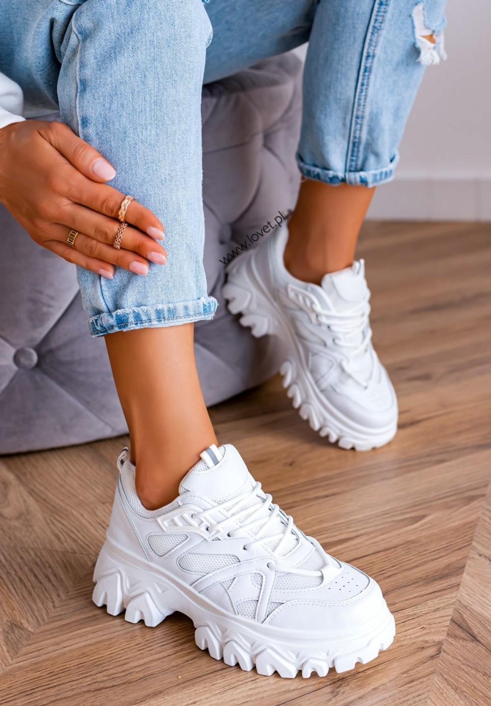 Trampki Sneakersy na Grubej Podeszwie Białe Hennes
